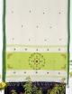 Women White, Light Green cotton embroidery saree
