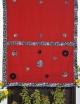 Women red cutwork hand stitch saree