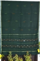 Women green cotton embroidery saree