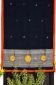 Women black ash cotton embroidery saree
