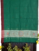 Women green&light red cotton embroidery saree