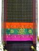 Women black half silk embroidery saree