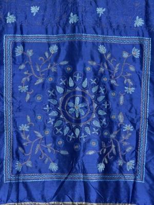Hand Stitch Royal blue silk Saree