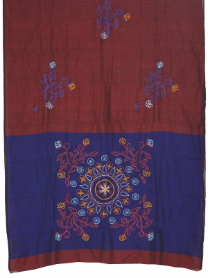 Women cotton burgundy embroidery saree