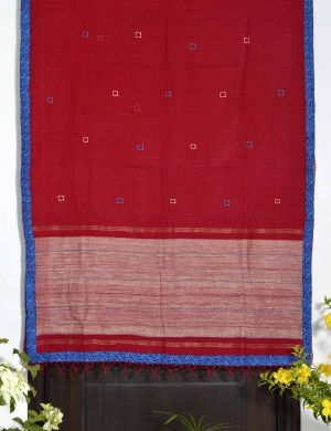 Red cotton embroidered saree