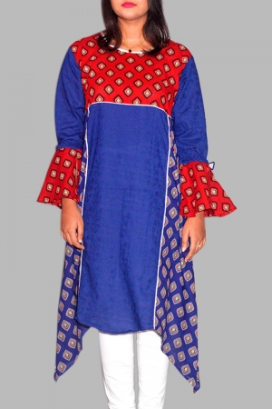 New Exclusive Blue Color Embroidered Long Kurti For Women