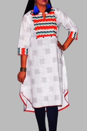 New Exclusive White & Red Color Embroidered Long Kurti For Stylish Women
