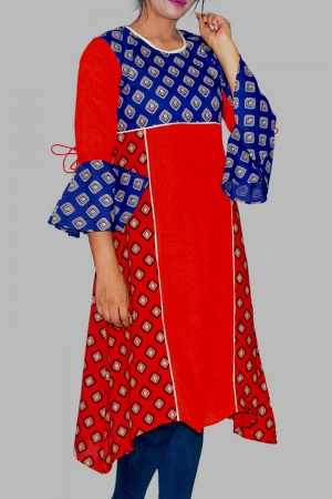 New Exclusive Red Color Embroidered Long Kurti For Stylish Women