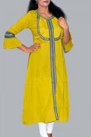 New Exclusive Yellow Color Embroidered Long Kurti For Women