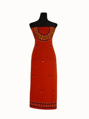 New Hand Machine Embroidery Orange color single Unstitch Kamiz